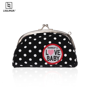 New Style mental frame wallet with pattern canvas frame coin purse for women small wallet mini bag