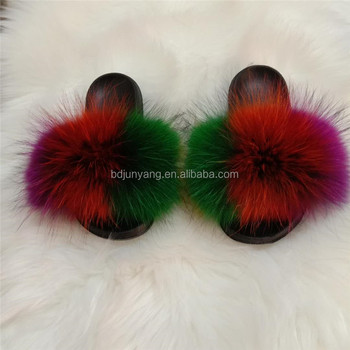 lady slippers women fur slides wholesale fur slippers