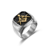 Customized hot sell 316 stainless steel masonic rings for men women silver gold freemason symbol mens ring signet