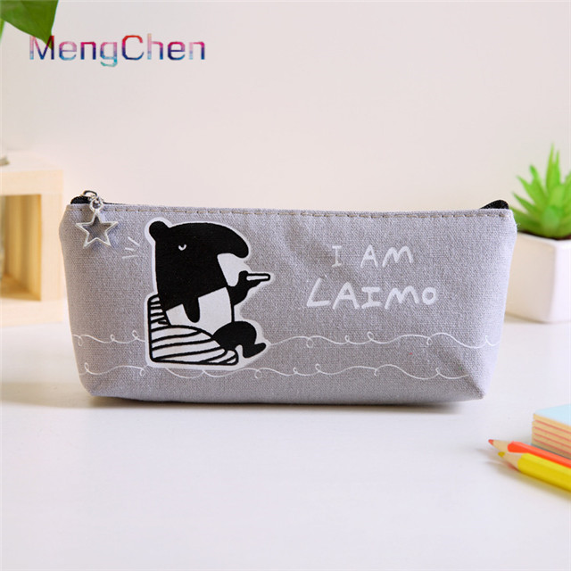 Factory price selling imported korean stationery colorful animal printing small zipper canvas pencil pouch with logo custom <strong>097</strong>