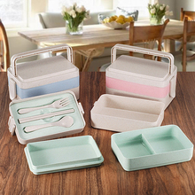 Biodegradable Bento Box Wheat Straw Lunch Box Japanese 3 layers Sushi Box For Student
