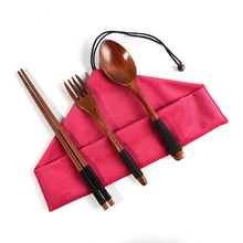 2-piece wooden tableware <strong>flat</strong> reusable chopsticks spoon fork portable travel cutlery set with pouch bag