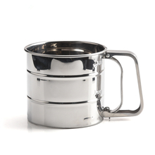 Baking Stainless Steel Shaker Sieve Cup Flour Sifter with Measuring <strong>Scale</strong> Mark for Flour Icing Sugar