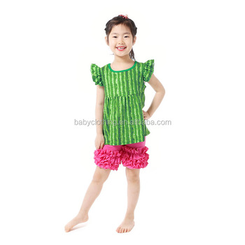 Milk silk sleeveless watermelon ruffle shorts kids baby clothes boutique girls outfits