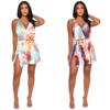 purple Polyester Fashion Sexy Tank Sleeveless V Neck A-Line Mini backless Patchwork Print Club Dresses M907