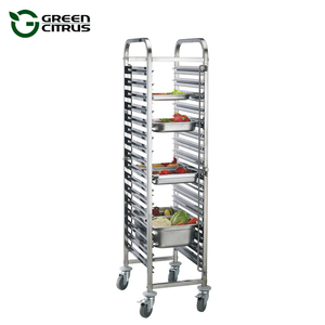 OEM 1/1, 1/2 Size GN Pans 15,16,18 Tiers Stainless Steel Bakery Food Rack Tray Trolley with Wheels Wholesale