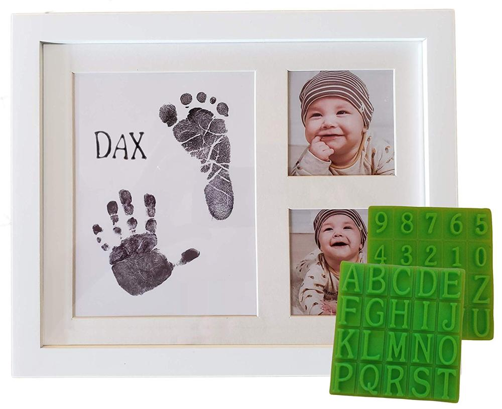 Baby shower gift set baby handprint and footprint wooden frame kit baby photo frame handprint