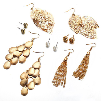 2019 Luxury Dubai Gold Plated Stainless Steel Set Jewelry Hollow Leaves Pendant Earrings Pearl Stud 6 Pairs Earrings Set