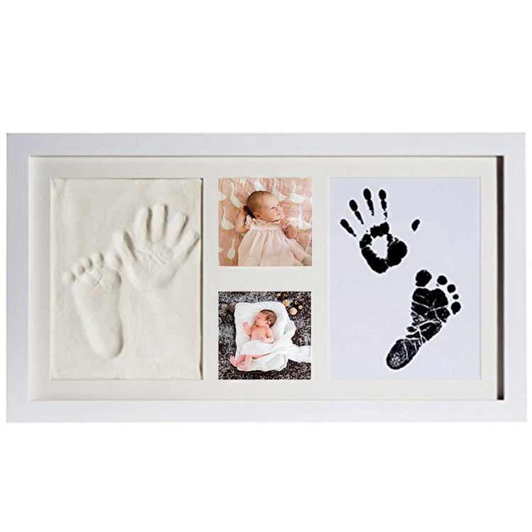baby wooden photo frame wooden foodprint and handprint frame