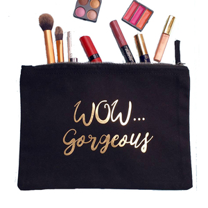 High quality Fashion Letters Gold Printed Cosmetic Bag Organic Cotton Canvas Plain Makeup Bag with Zipper