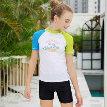 competitive swimming suit girl short sleeve shirts