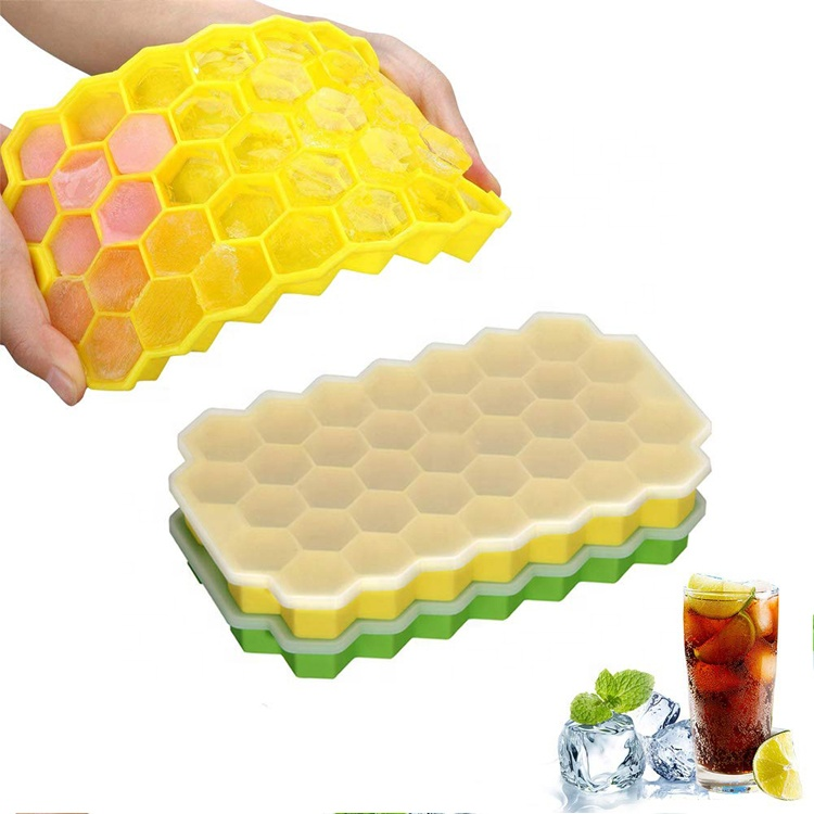 High Quality BPA Free Honeycomb Shape Silicone Ice Cube Tray With lid