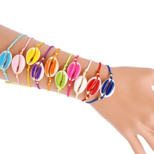 B-B190015 MoyaMiya handmade summer beach friendship bracelet assorted colorful shell charmsjewelry for women unisex