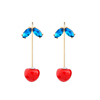 ed01256b Chic Korean Cute Red Cherry Gold Plated Resin Stud Earrings for Women