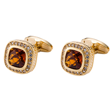 XUSHI Luxury Gold High Quality Classic Brown Rhinestone Cufflinks For Men XK18S018