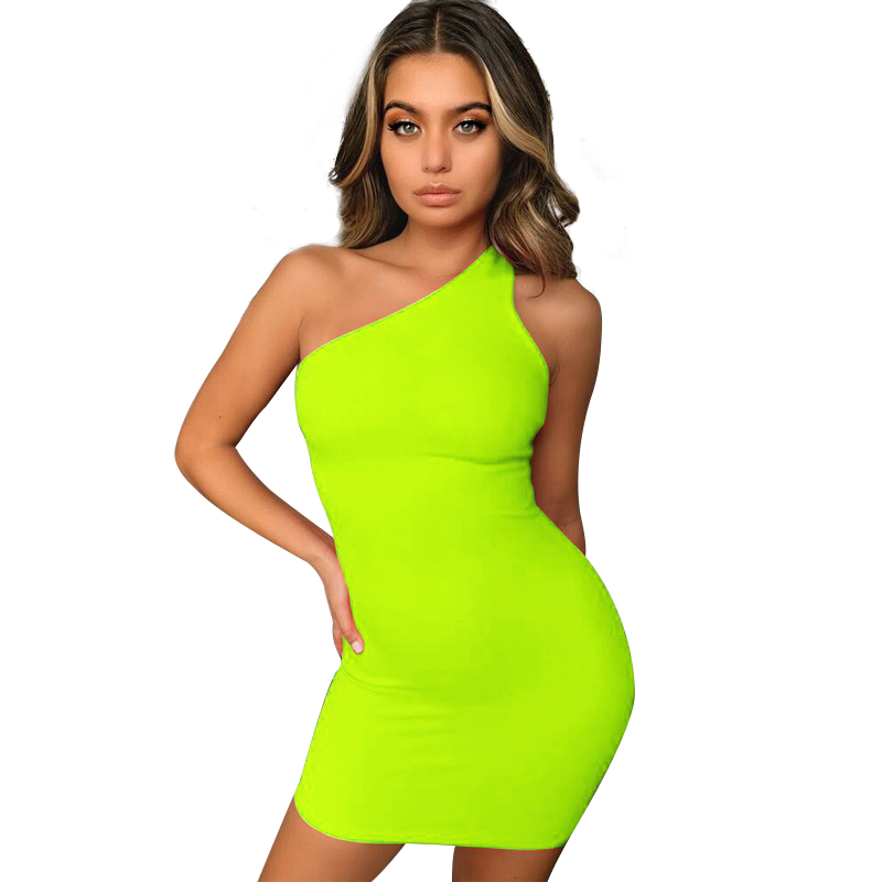Trendy Summer Party Casual Female Solid Mini Sleeveless Neon Dress Women