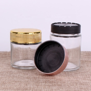 5OZ glass rounded base child safety odor proof glass container jars with plastic wooden childproof cap