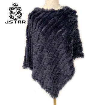 Ladies Elegant White Knitted Real Fur Cape Women's Natural Rex Rabbit Fur Trim Shawl Winter Warm Poncho Rabbit Fur Shawl