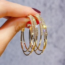 Personalized Shine C Shape 925 Silver Pin Women Alloy Rhinestone Hoop <strong>Earrings</strong>