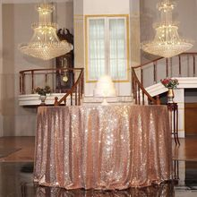 Hot Selling good quality rectangular round tablecloth glitter rose gold sequin tableclothfor wedding party christmas