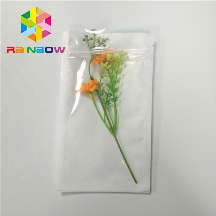 "Transparent Front Pearl White 3x5"" Resealable Ziplock Flat Mylar Display Plastic Bag with Hang Hole"