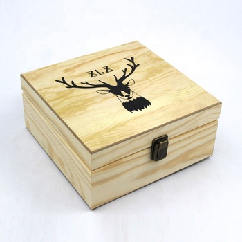 Luxury essential oil packaging wooden display box with blue velvet surface