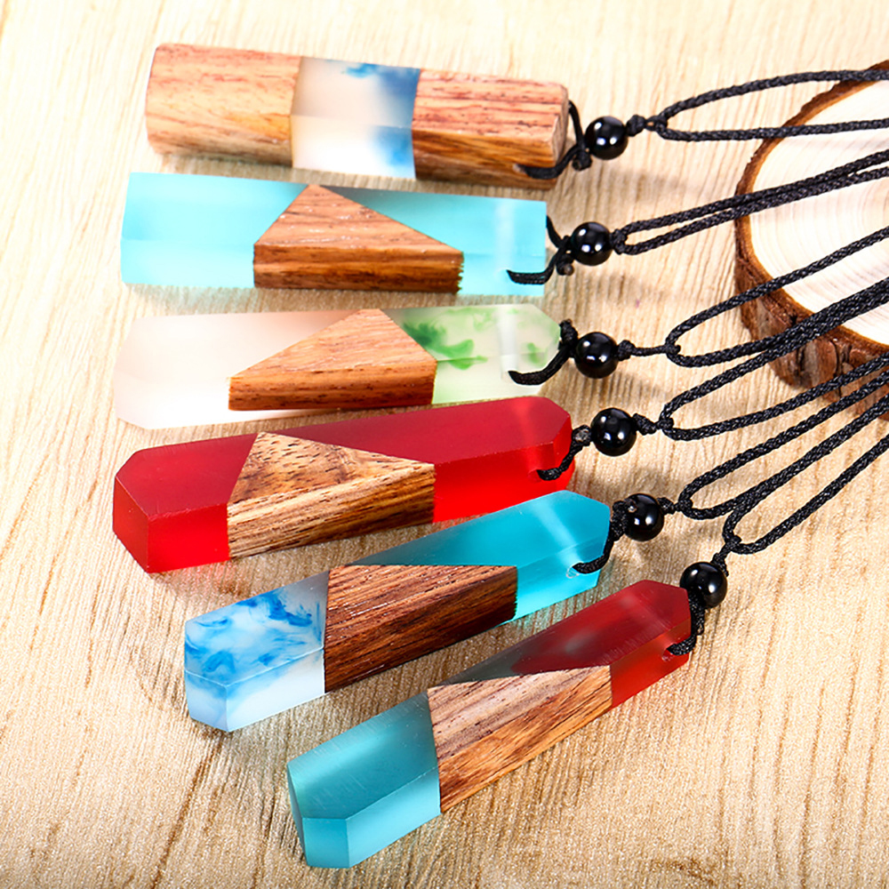 Vintage fashionable wood resin necklace pendant jewelry men woman, woven rope chain, hot selling gift Wholesale custom