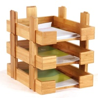 Totally Bamboo Stackable Desk Organizer Document Letter Storage Tray