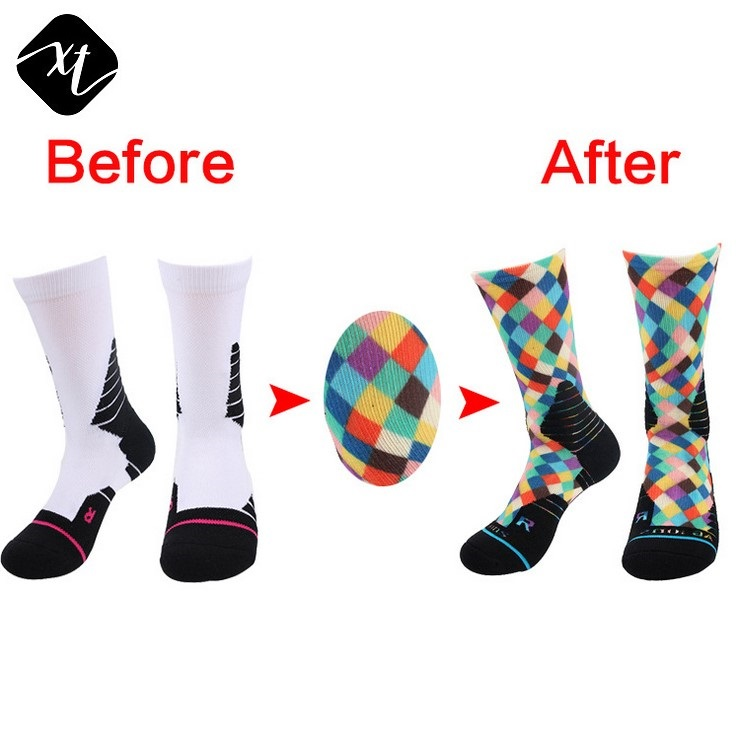 low moq custom cheap wholesale 3D digital printed unisex sports basketball thick sublimation socks