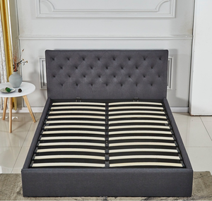 comfort fabric bed with wood steel furniture