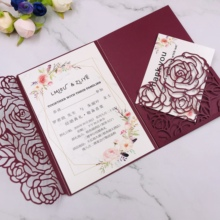 Elegant pocket Burgundy wedding invitation <strong>card</strong> Laser Cut Rose tri-fold invitations greeting Gift cover For party birthday