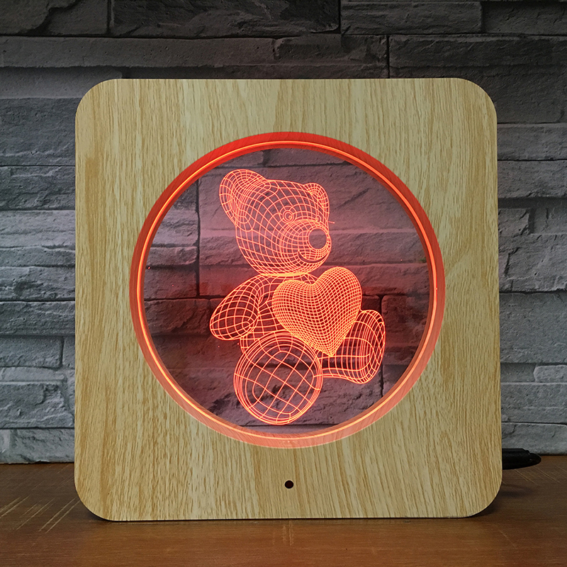 Kids Sleeping Helper Teddy Bear Wood <strong>Grain</strong> 3D Night Light Photo Frame LED Optical Illusion Lamp