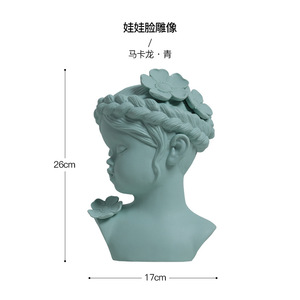 Blue color Nordic Style Creative Home Decoration Baby Face Statue Desktop Crafts for wedding gifts