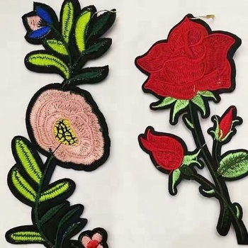 Y1009 Red Flower Sew On Embroidery Patch for Women Collar,china factory wholesale sew patches sale