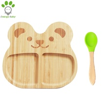 Custom Panda Bear Natural Bamboo Baby Fruit <strong>Plate</strong> Toddler Kids Suction Feeding <strong>Plate</strong> with Spoon Fork