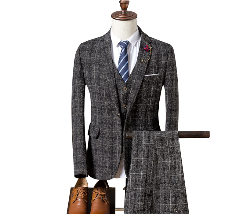 Plaid Suit Men's Groom Wedding Business Dress Suits Set