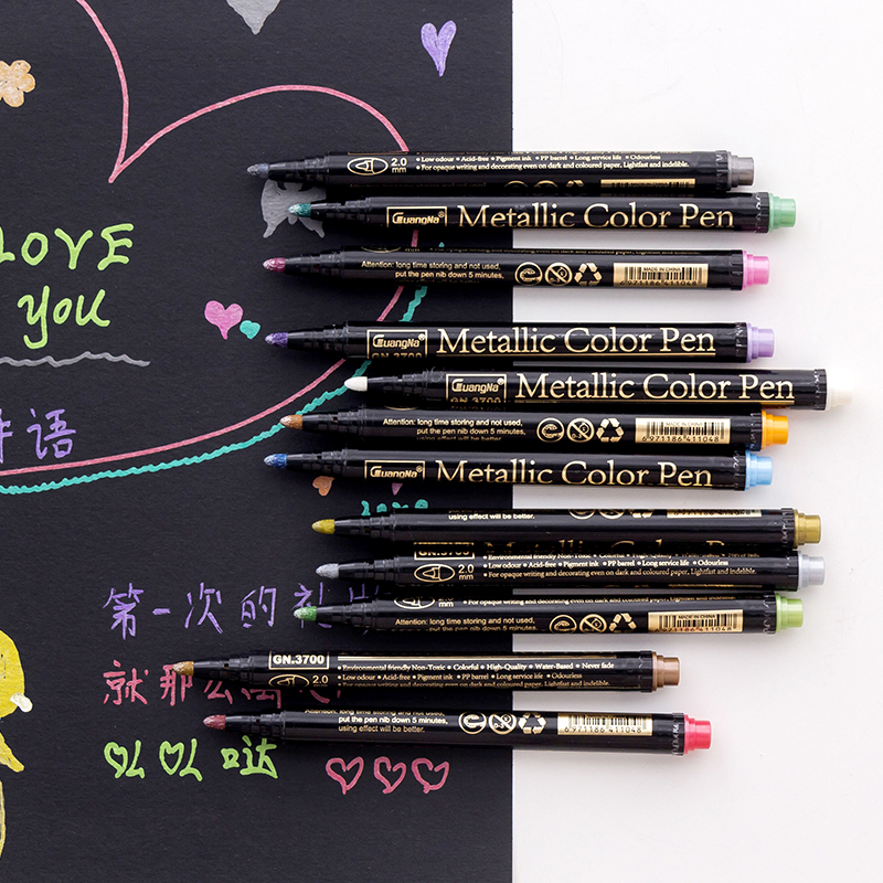 2.0mm Nibs <strong>Colorful</strong> Metallic Wine Glass window metallic Washable Brush Marker Pen