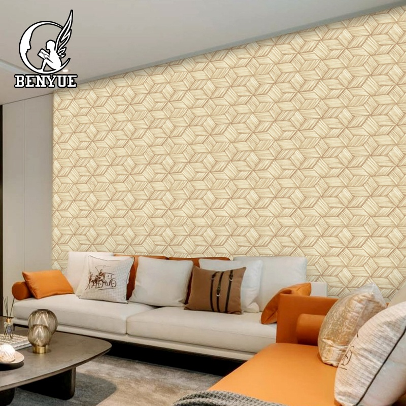 interior pvc 3d wallpaper for wall decoration wallpaper sticker wood <strong>grain</strong> 3d pvc wallpaper for hall
