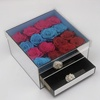 Hot Sale acrylic mirror box vase acrylic sliver mirror rose box with drawer