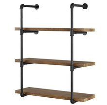 3/4 24inch Industrial Pipe Bookcase Wall <strong>Shelf</strong>,Rustic Floating Wood <strong>Shelves</strong> Shelving