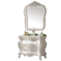 Solid wood antique style luxury bathroom vanity with mirror