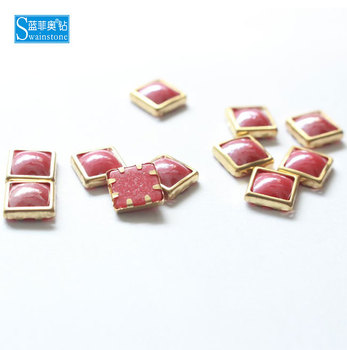 S0801  A round square shape iron on rimmed pearls nail pearls
