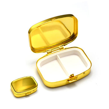 Custom travel cute food grade japan mini 2 compartments stainless steel aluminium alloy metal pill storage case