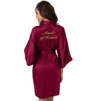Trendy Pajamas Women Silk Satin Bridal Party Robes for Bridesmaid Short Getting Ready Bathrobe