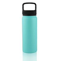 Stainless Steel Water Bottle With Straw and Wide Mouth Lids 32oz Keeps Liquids Hot or Cold with Double Wall Vacuum Design