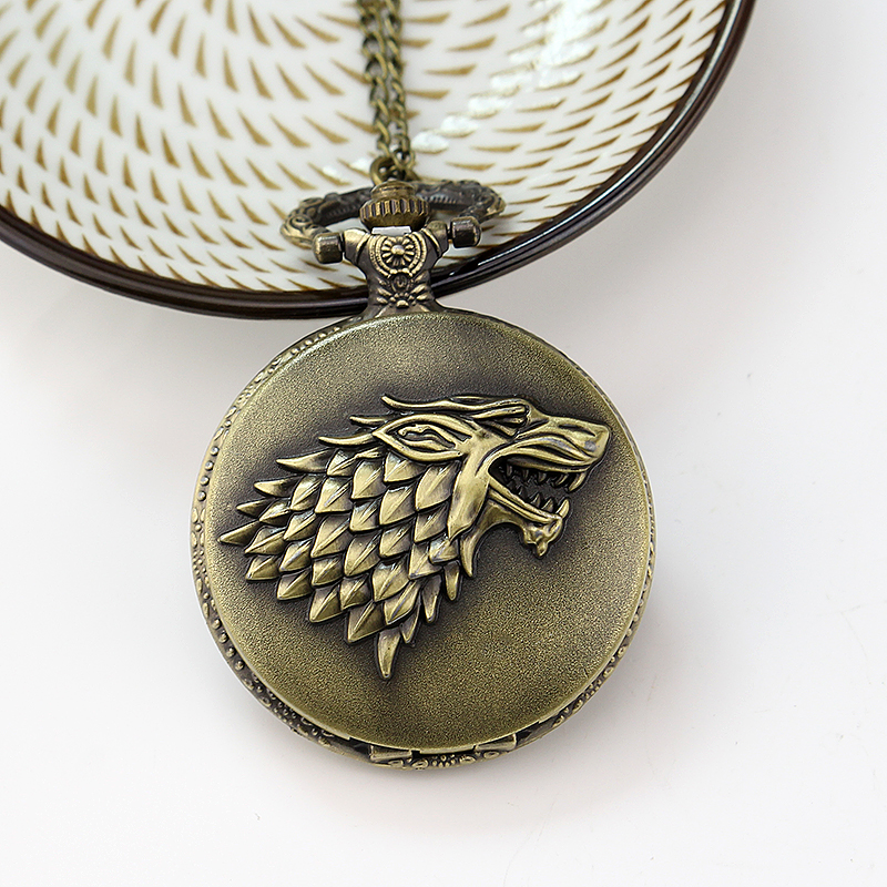 Bronze Wolf Head Pocket Watch Game of Thrones House Strak Winter is Coming Design Men Women Fob Watch Necklace Pendant Gift