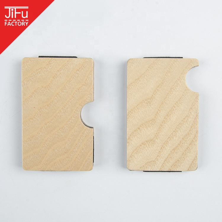 2019 Custom logo minimalist wallet slim wallets credit card holder with real wood wallet money clip for man