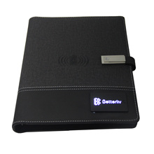 Hot Sale gift Office A5 leather business powerbank notebook with power bank and usb