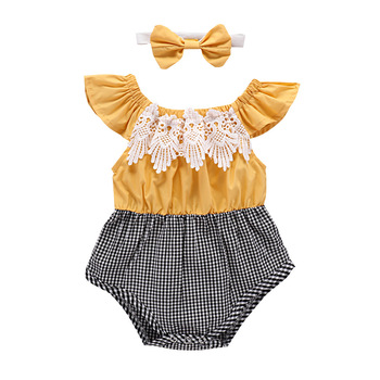 baby lace bubble romper girls vintage off shoulder onsie jumpsuit one piece Splicing summer outfit