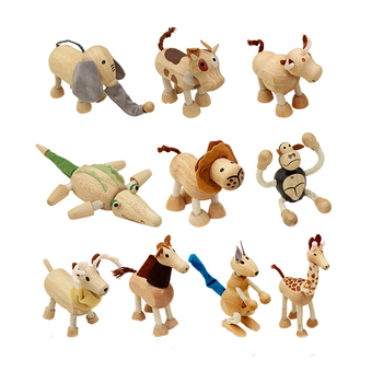 wholesale craft gift fancy cartoon 3d wooden animal shape figurines toy set for kids game